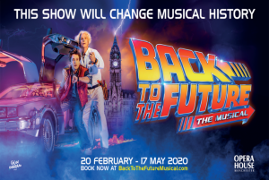BTTF Car DeLorean Time Machine Hire featuring on the Official Back to the Future Musical Poster