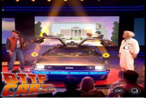 BTTF Car DeLorean Time Machine hire on stage with the cast of the Back to the Future Musical