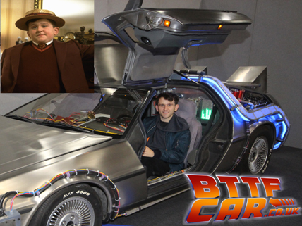 Celebrity guests Harry Melling in the BTTF DeLorean Hire